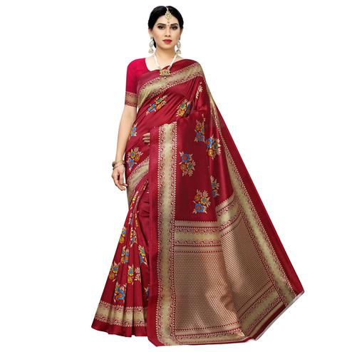 Lovely Red Colored Casual Printed Art Silk Saree