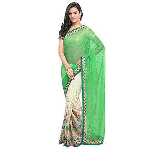 Cream - Green Festive Wear Saree