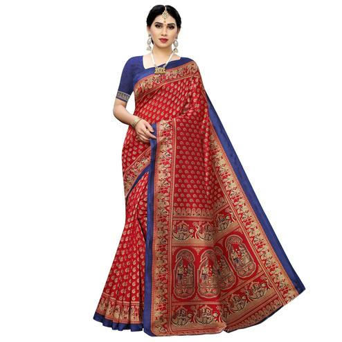 Pleasance Red Colored Casual Printed Art Silk Saree