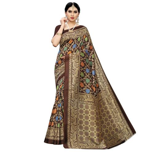 Dazzling Brown Colored Casual Printed Art Silk Saree