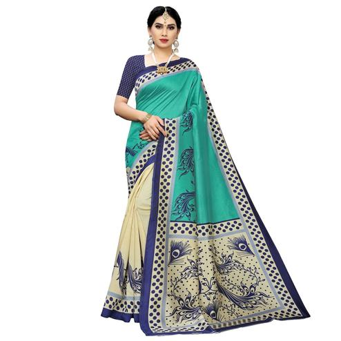 Arresting Cream-Green Colored Casual Printed Art Silk Saree