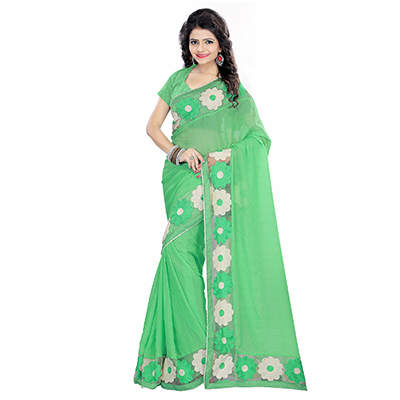 Green Embroidered Border Work Saree