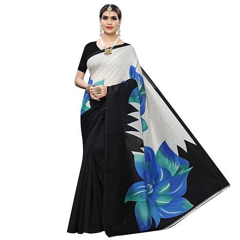 Blooming Blue Colored Casual Wear Floral Printed Art Silk Saree