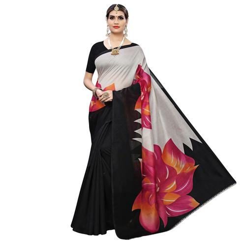 Charming Pink Colored Casual Wear Floral Printed Art Silk Saree