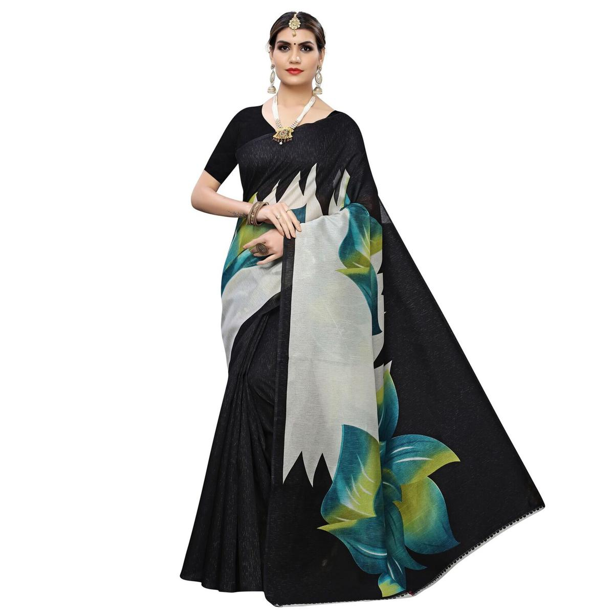 Attractive Rama Green Colored Casual Wear Floral Printed Art Silk Saree