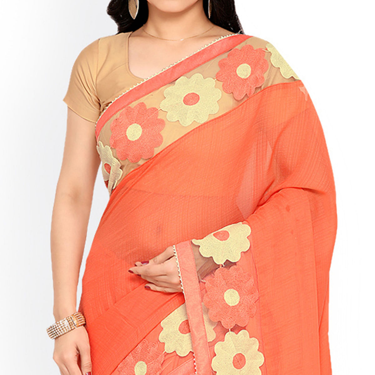 Peach Embroidered Chiffon Saree