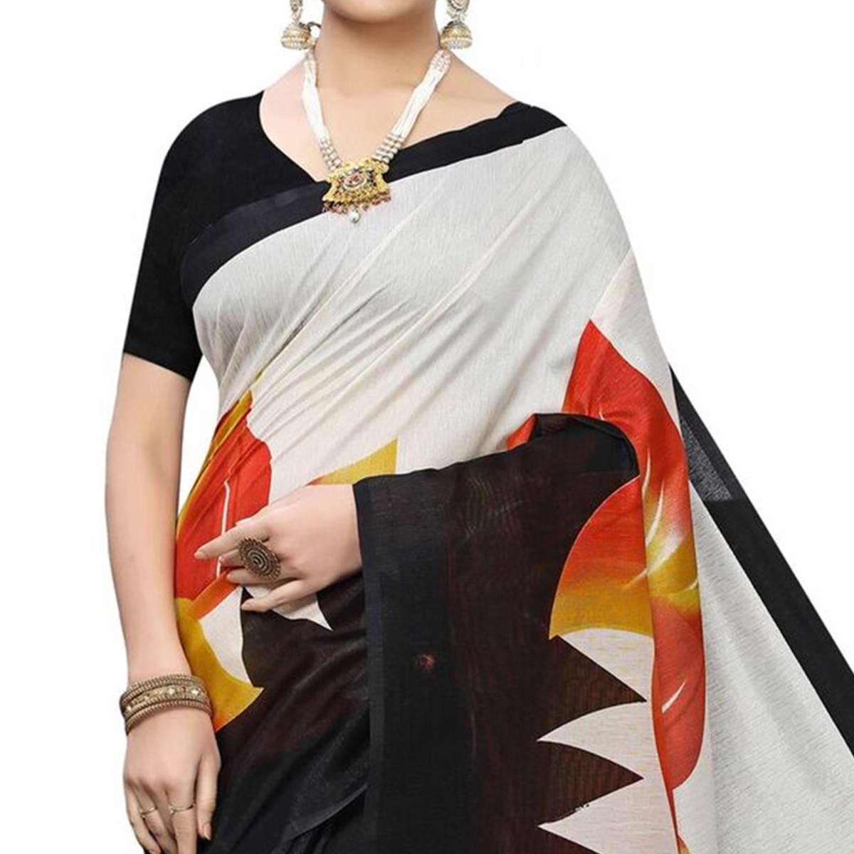 Delightful Red Colored Casual Wear Floral Printed Art Silk Saree