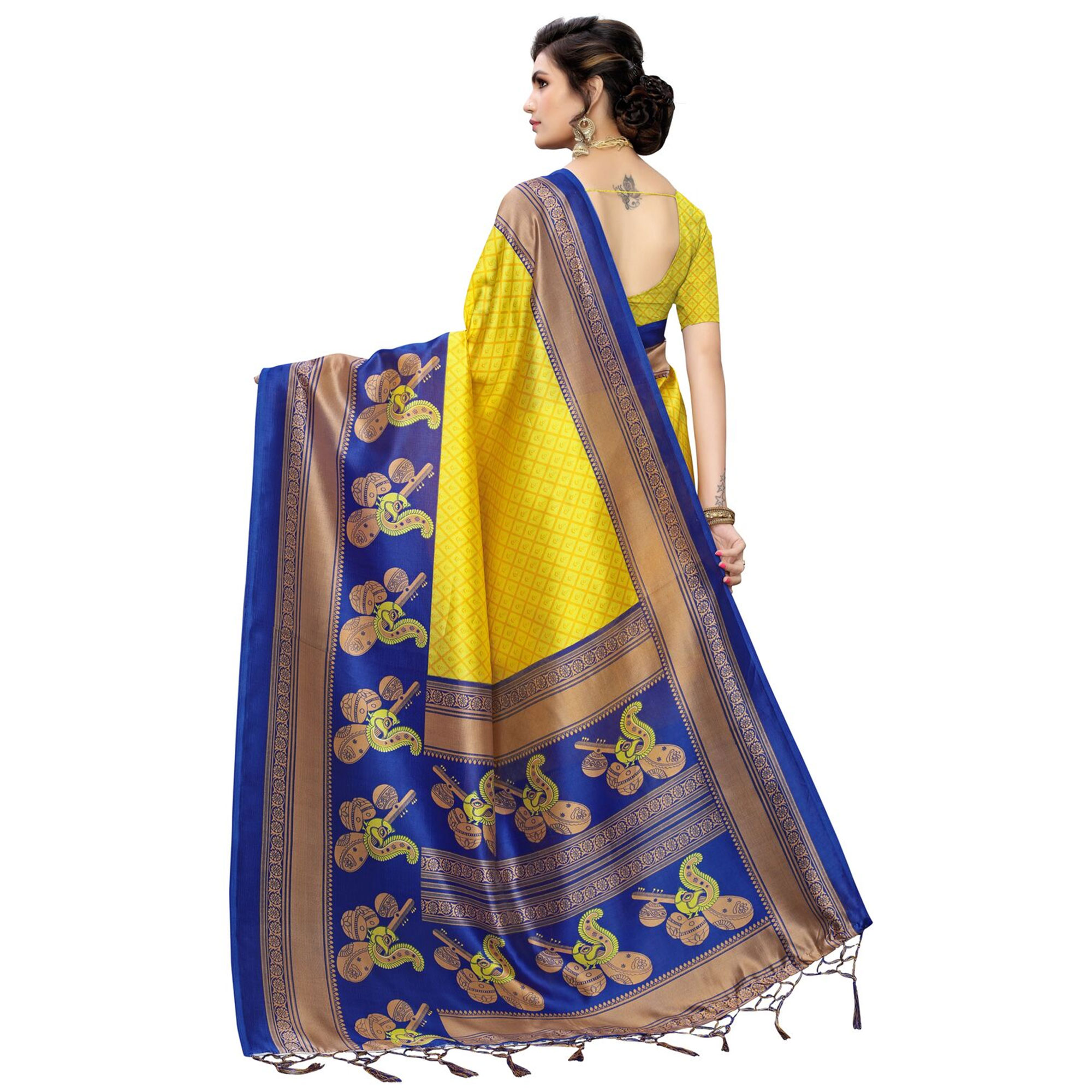 Glorious Yellow Colored Festive Wear Printed Art Silk Saree