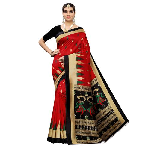 Elegant Red Colored Casual Wear Printed Zoya Silk Saree