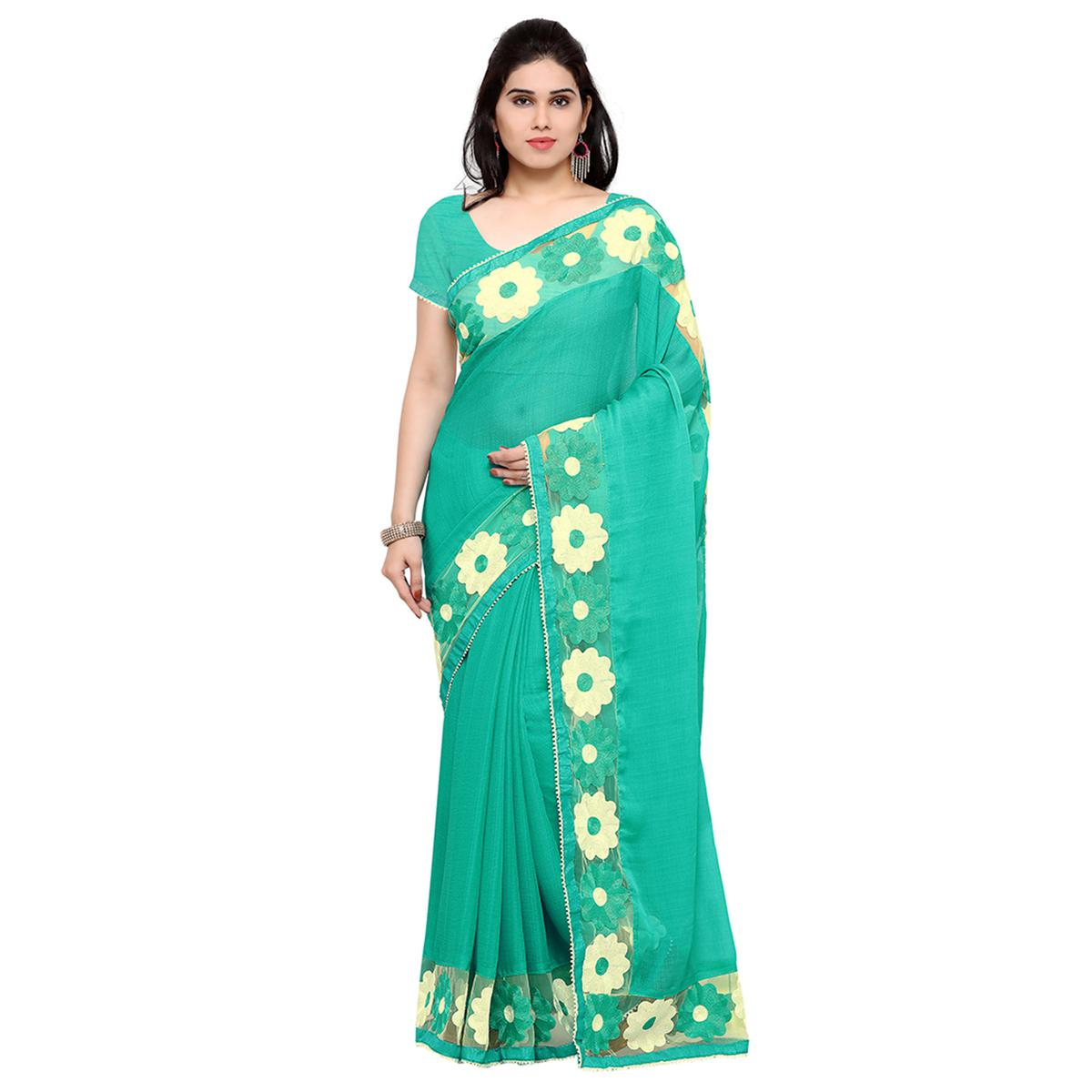 Aqua Green Party Wear Chiffon Saree