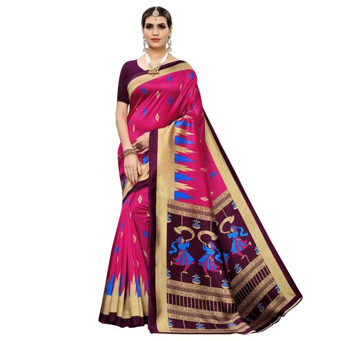 Opulent Pink Colored Casual Wear Printed Zoya Silk Saree