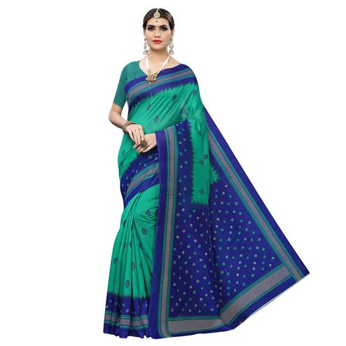Gleaming Green-Blue Colored Casual Wear Printed Zoya Silk Saree