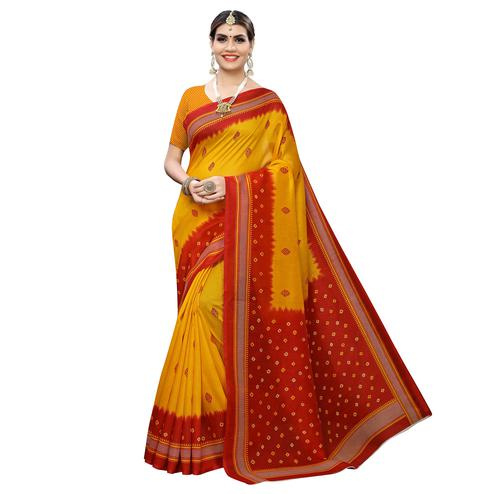 Mesmeric Yellow-Red Colored Casual Wear Printed Zoya Silk Saree
