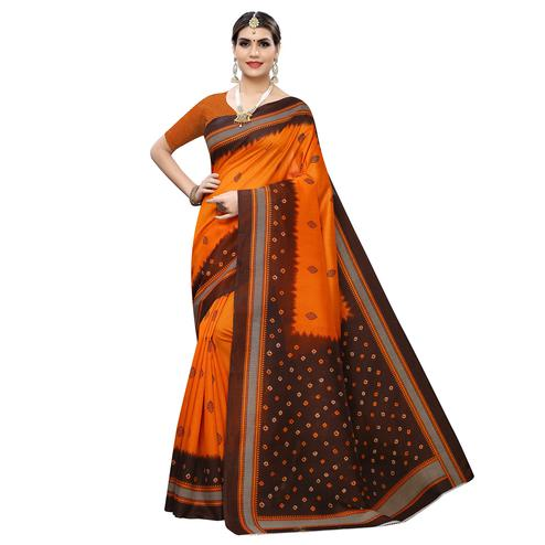 Unique Orange-Brown Colored Casual Wear Printed Zoya Silk Saree