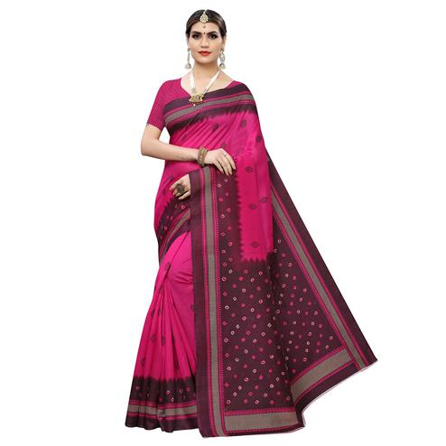 Refreshing Pink-Brown Colored Casual Wear Printed Zoya Silk Saree