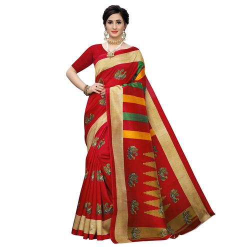 Magnetic Red Colored Casual Wear Printed Zoya Silk Saree