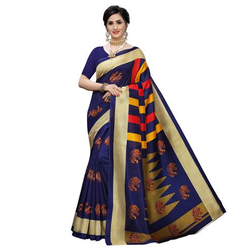 Hypnotic Navy Blue Colored Casual Wear Printed Zoya Silk Saree