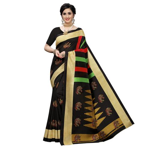 Flattering Black Colored Casual Wear Printed Zoya Silk Saree