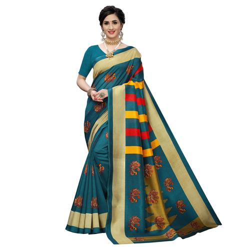Excellent Rama Blue Colored Casual Wear Printed Zoya Silk Saree