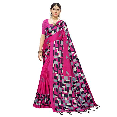 Adorable Pink Colored Casual Wear Printed Cotton Saree With Tassels