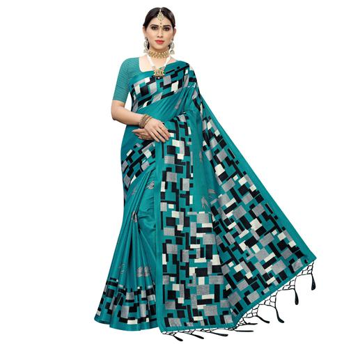 Glorious Rama Blue Colored Casual Wear Printed Cotton Saree With Tassels
