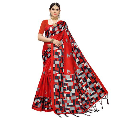 Attractive Red Colored Casual Wear Printed Cotton Saree With Tassels