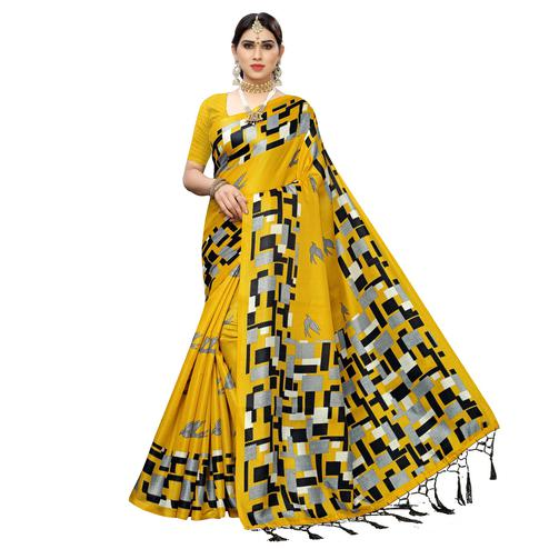 Beautiful Yellow Colored Casual Wear Printed Cotton Saree With Tassels