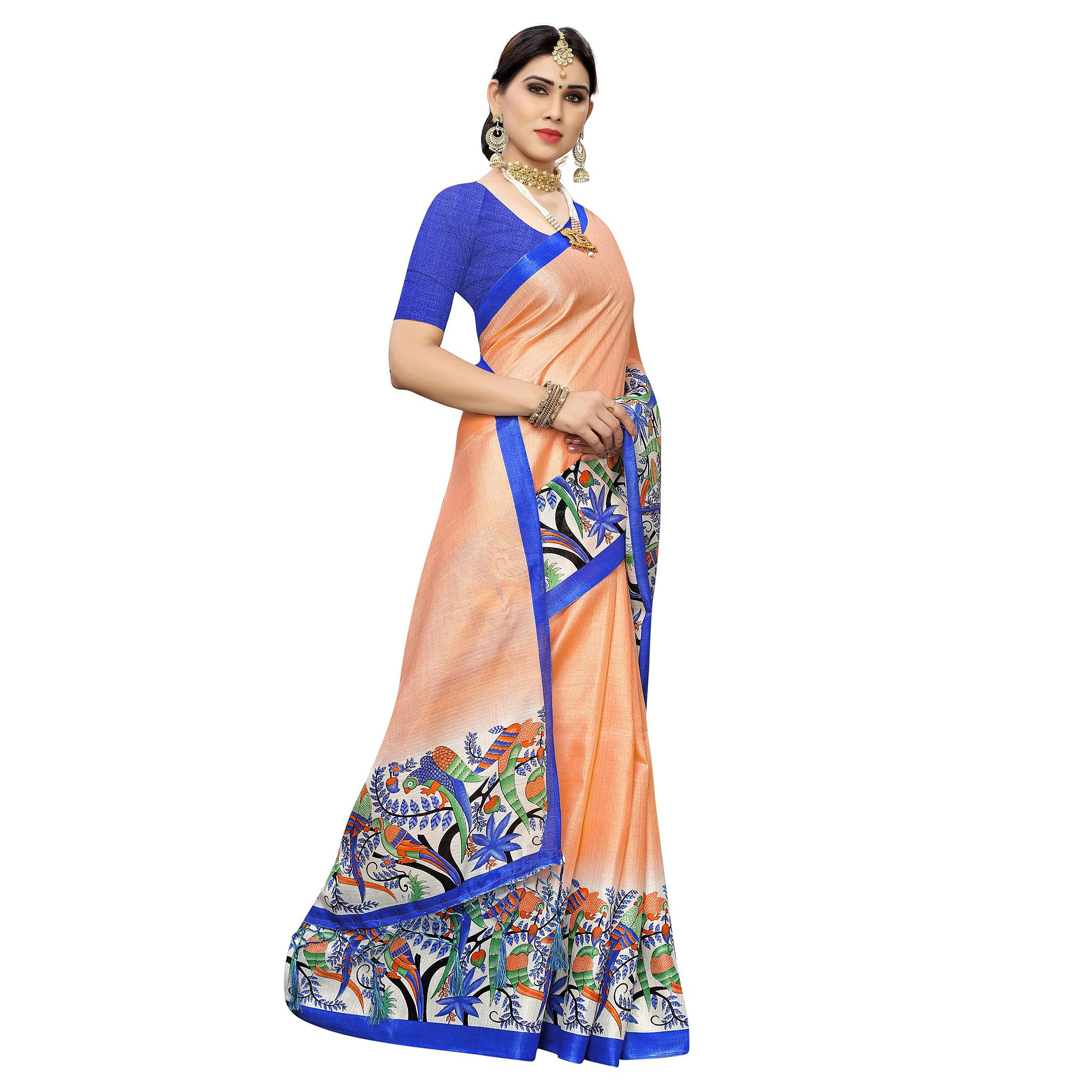 Graceful Peach Colored Casual Wear Printed Cotton Saree With Tassels