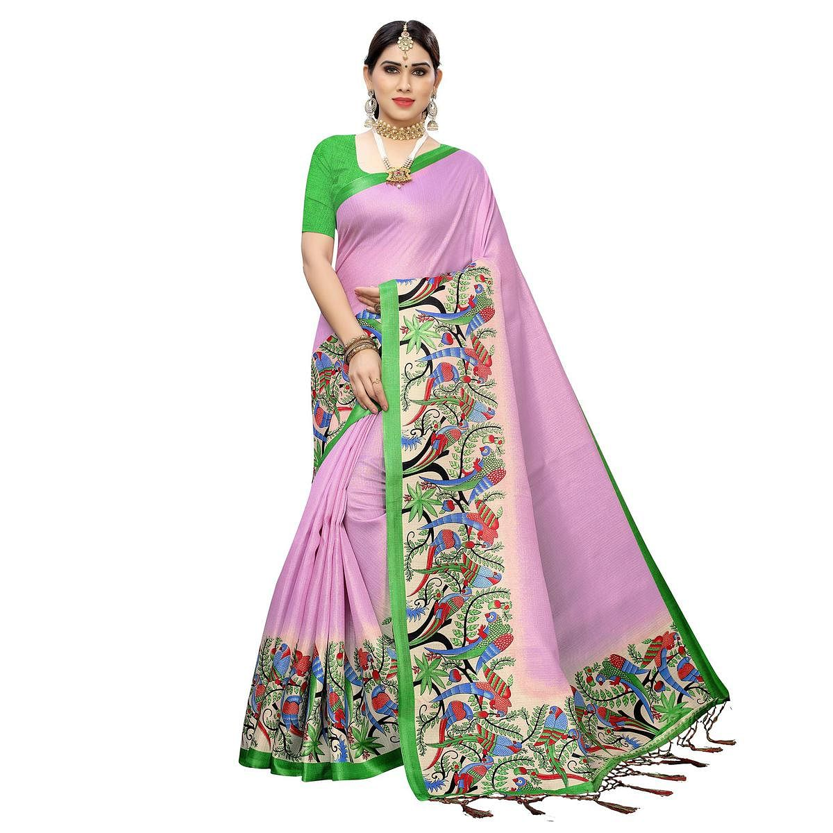 Blooming Purple Colored Casual Wear Printed Cotton Saree With Tassels