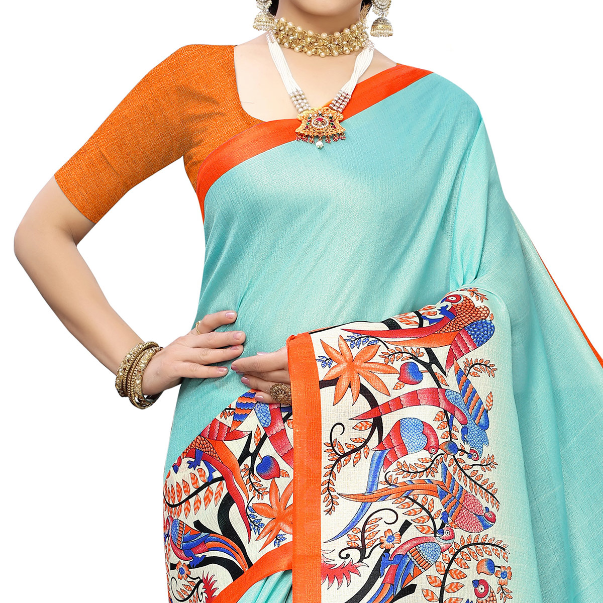 Charming Blue Colored Casual Wear Printed Cotton Saree With Tassels