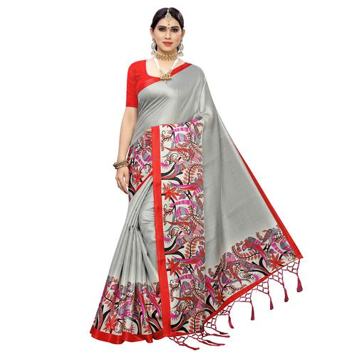 Jazzy Grey Colored Casual Wear Printed Cotton Saree With Tassels