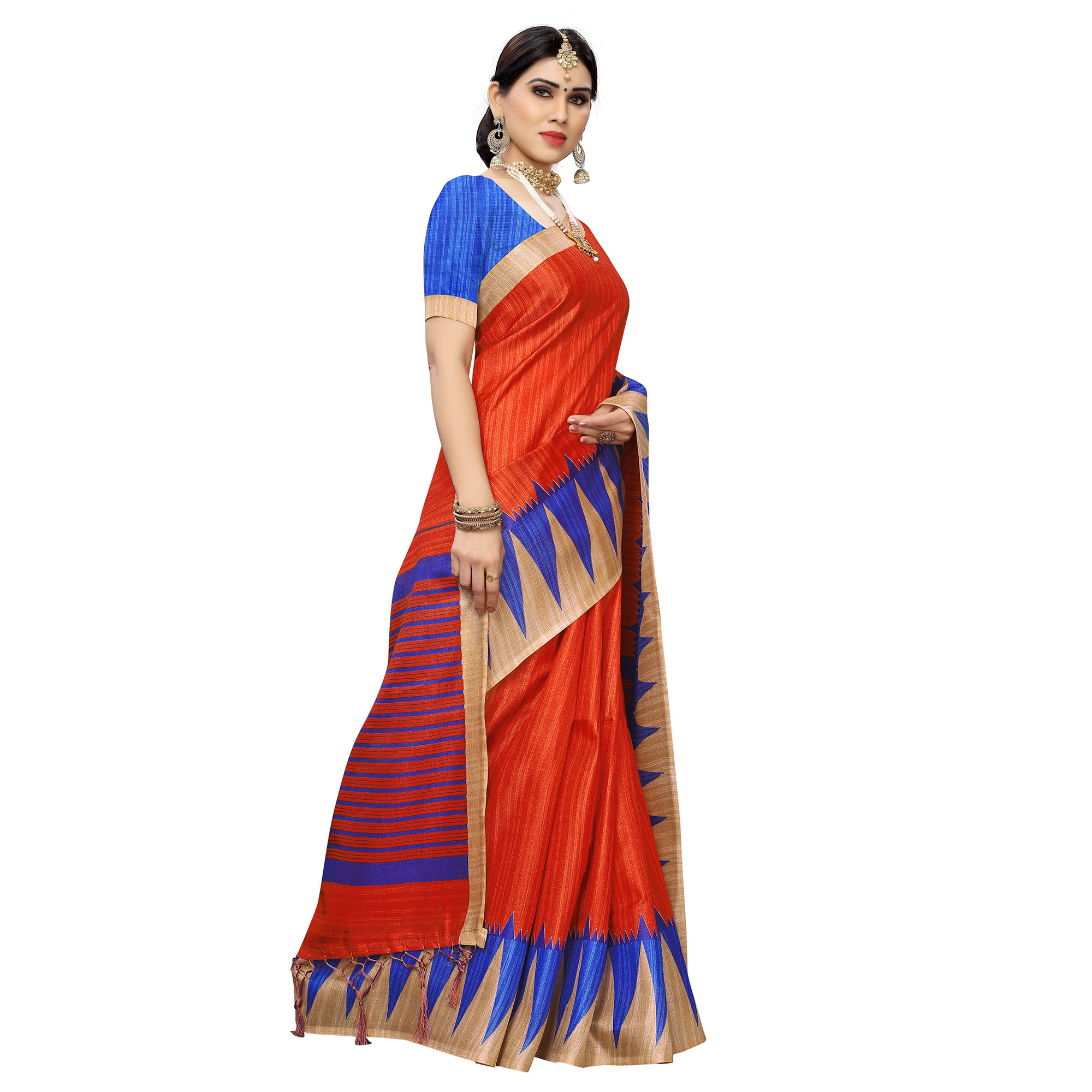 Delightful Orange Colored Casual Wear Printed Cotton Saree With Tassels