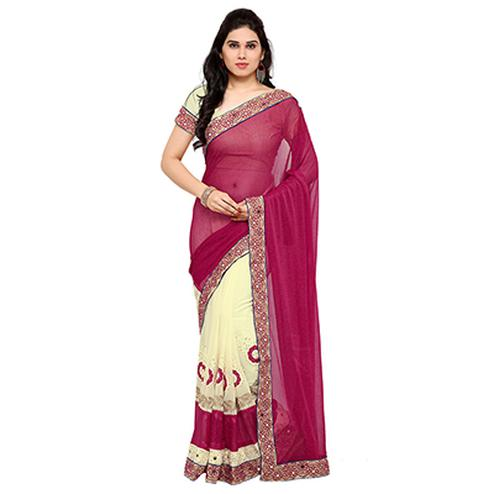 Cream - Pink Georgette Half Saree