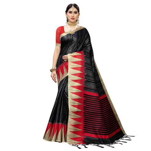 Engrossing Black Colored Casual Wear Printed Cotton Saree With Tassels