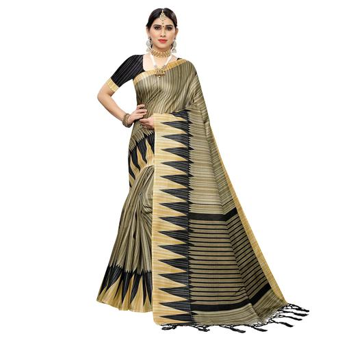 Captivating Grey Colored Casual Wear Printed Cotton Saree With Tassels