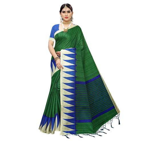 Innovative Green Colored Casual Wear Printed Cotton Saree With Tassels