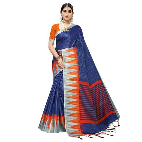 Arresting Blue Colored Casual Wear Printed Cotton Saree With Tassels