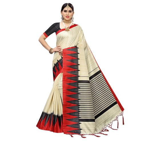 Exotic White Colored Casual Wear Printed Cotton Saree With Tassels