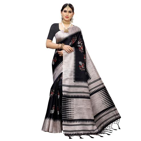 Trendy Black Colored Casual Wear Printed Cotton Saree With Tassels