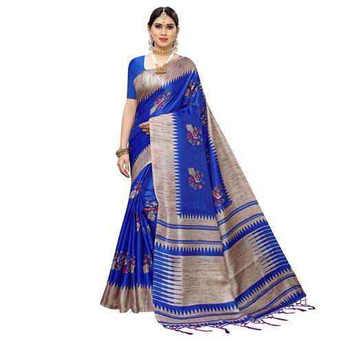 Elegant Blue Colored Casual Wear Printed Cotton Saree With Tassels