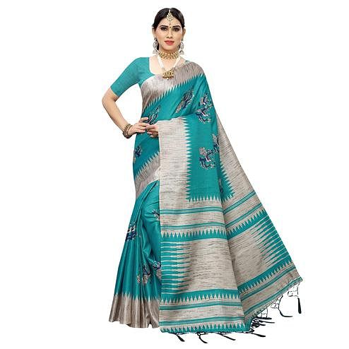 Radiant Rama Green Colored Casual Wear Printed Cotton Saree With Tassels