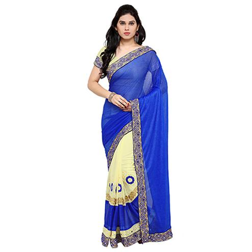 Cream - Blue Embroidered Half Saree