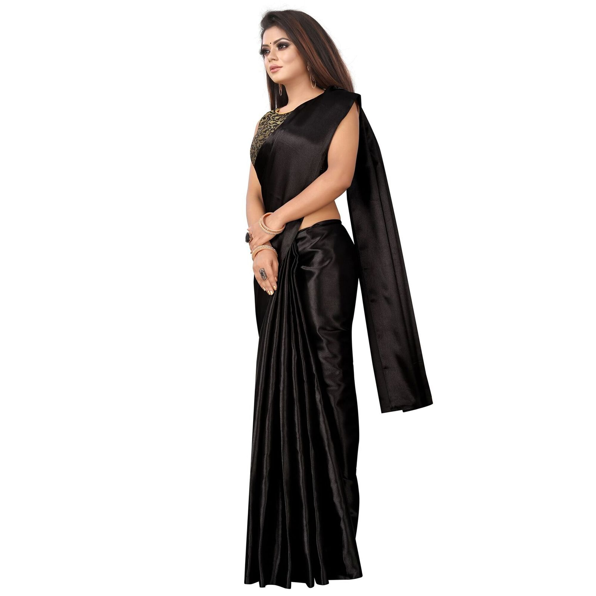 Magnetic Black Colored Partywear Satin Saree