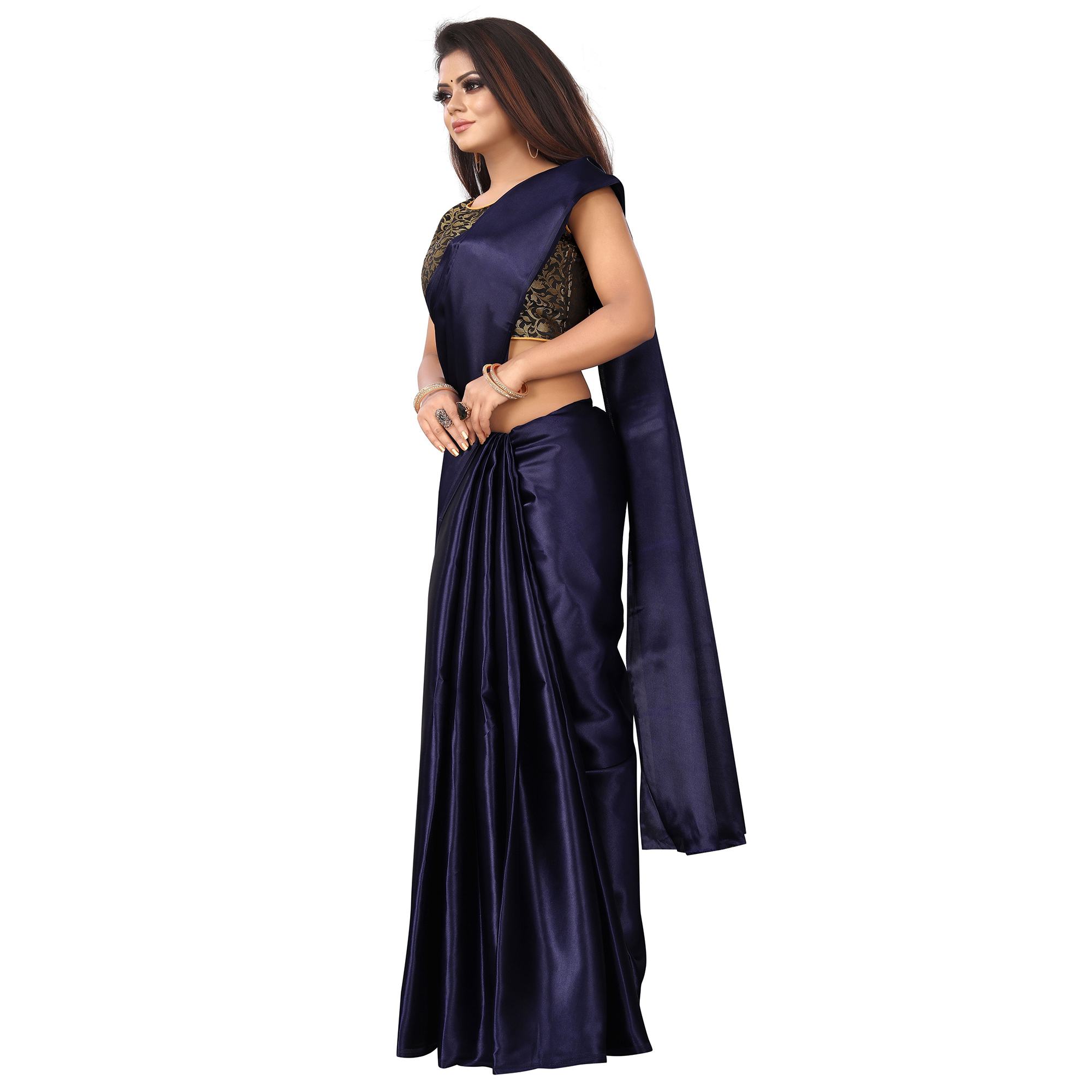 Preferable Navy Blue Colored Partywear Satin Saree
