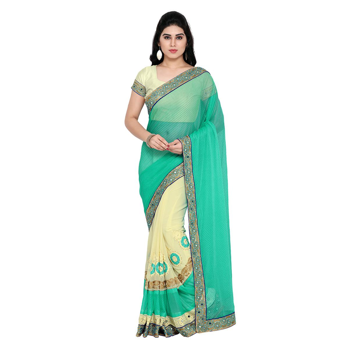 Cream - Sky Blue Half & Half Saree