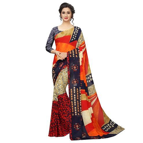 Innovative Multi Colored Casual Printed Georgette Saree