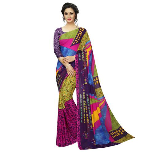 Eye-catching Multi Colored Casual Printed Georgette Saree