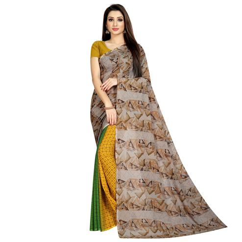 Fantastic Brown-Multi Colored Casual Printed Half & Half Georgette Saree