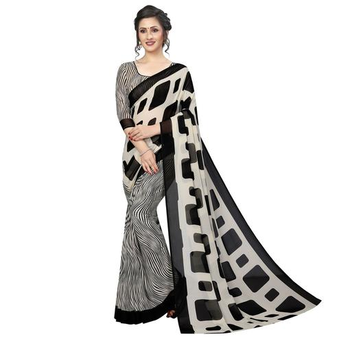 Blissful Black-Cream Colored Casual Printed Half & Half Georgette Saree