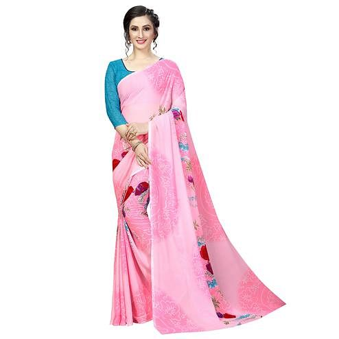 Imposing Pink Colored Casual Printed Georgette Saree